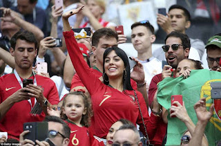 Cristiano Ronaldo's girlfriend flashes diamond-encrusted ring as she watches him play against Morocco (Photos)