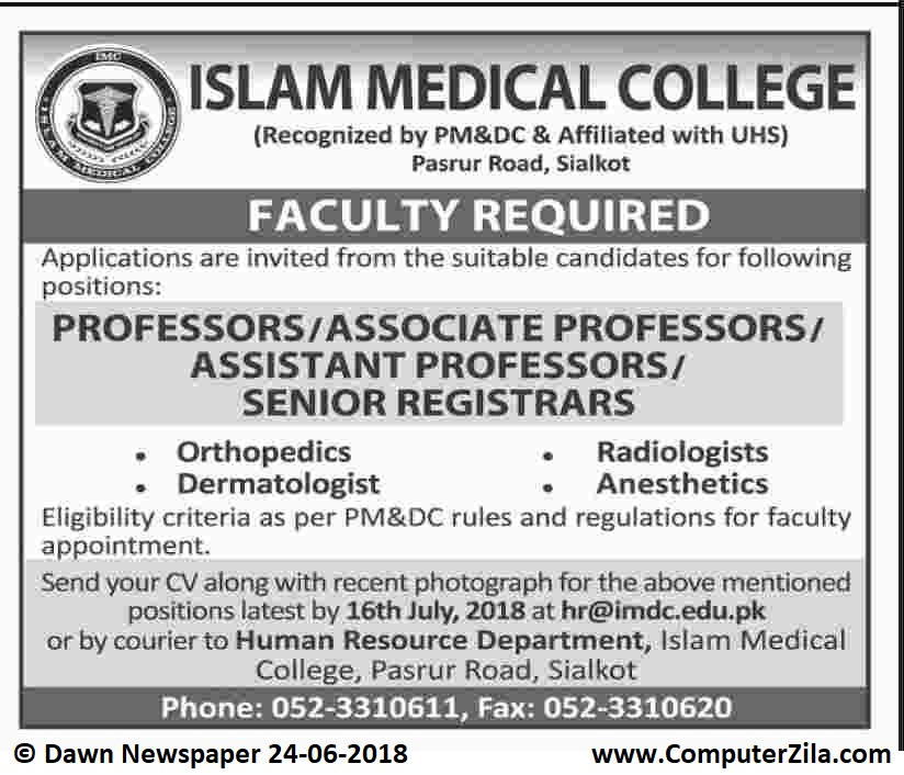 Faculty Required at Islam Medical College