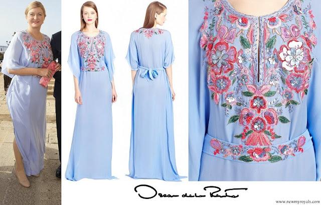 Princess Stephanie wore Oscar de la Renta Periwinkle Silk Floral Embroidered Caftan in Blue