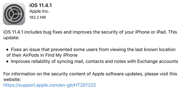 iOS 11.4.1 Features Changelog