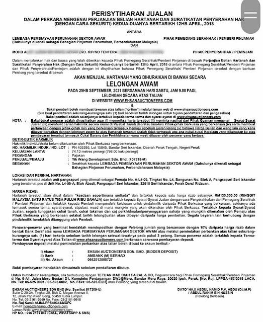PoS Apartment Seri Iskandar yang akan di Lelong oleh LPSSA Pada 25 September 2021