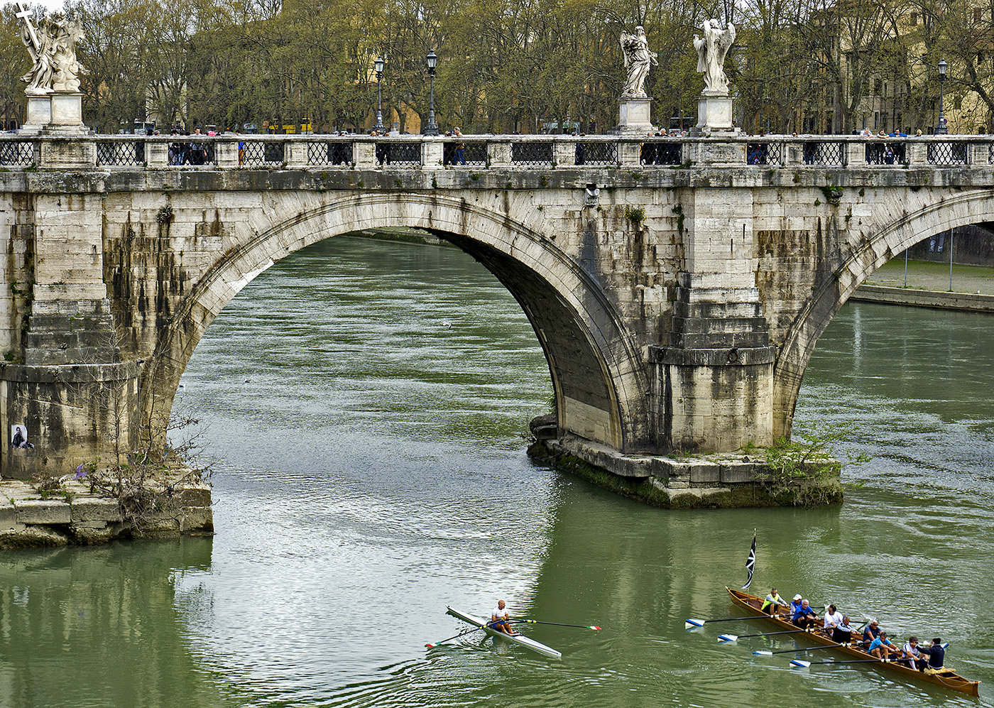 Rowers rowing under Ponte Sant'Angelo in Rome, Italy
