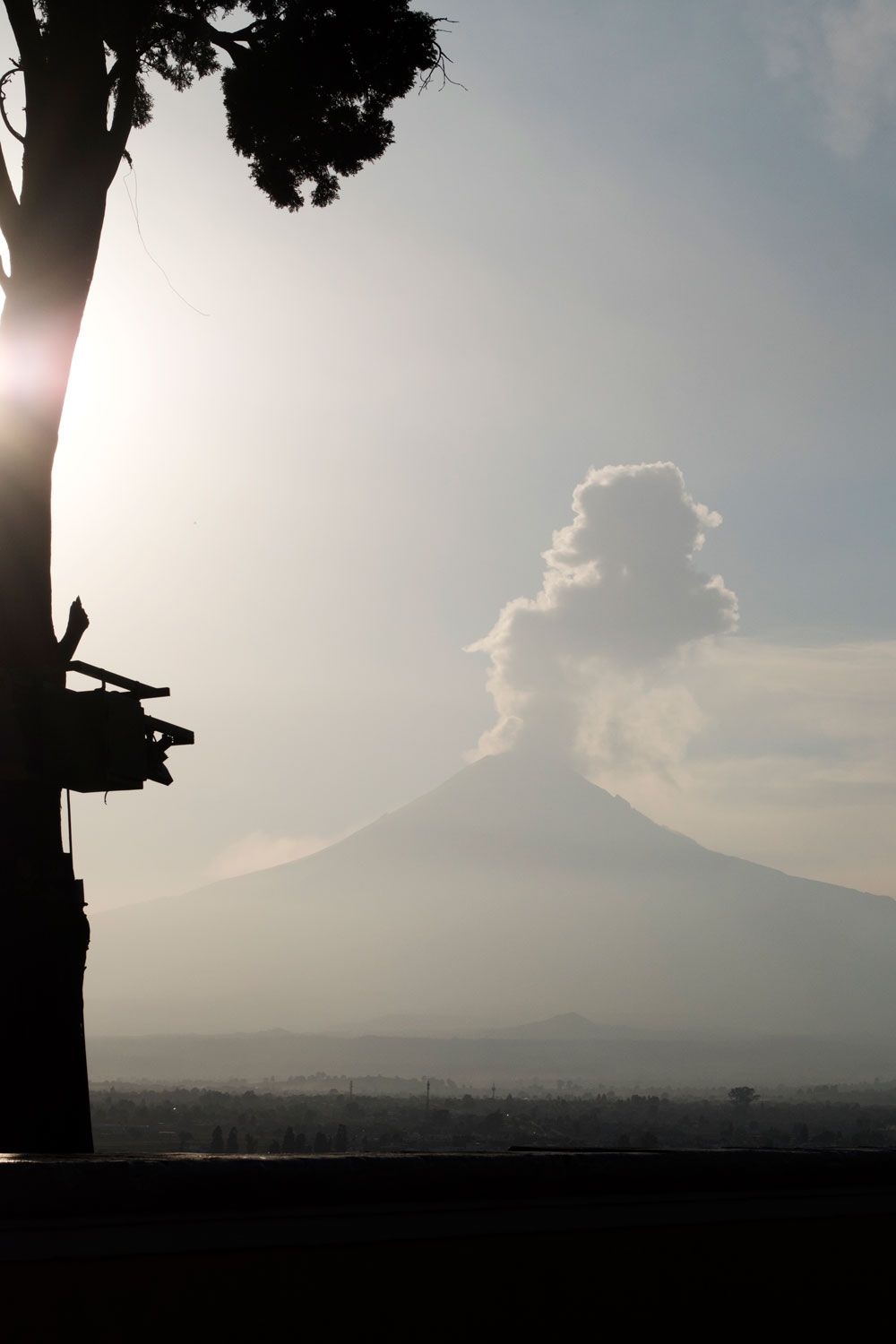 View of Popocatepetl volcano from cathedral