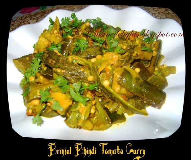 Brinjal Bhindi Tomato Curry - Cuisine delights  Brinjal Bhindi ...