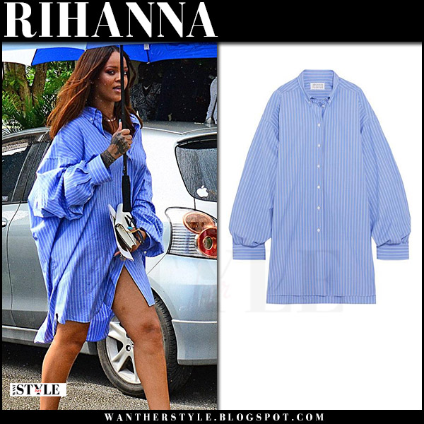 Rihanna in blue striped oversized shirt maison margiela what she wore august 10 2017