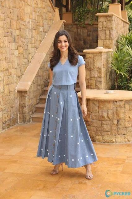 Alia Bhatt wear Fit And Flare Gray dress