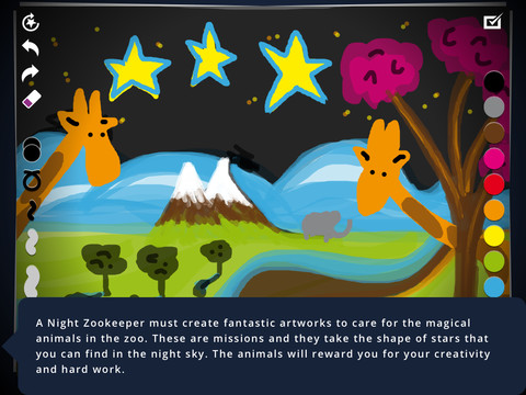 book chook childrens ipad app night zookeeper drawing torch