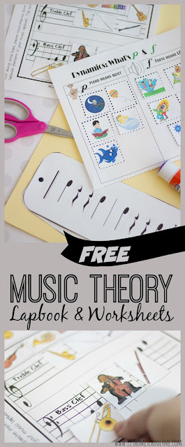 FREE Music Theory Worksheets & Resources - lots of different music worksheet, music lapbook, music history, and other fantastic resources to teach kids about notes, rhythm, dynamics, base clef, treble clef, the orchestra, musical instruments, and so much more!