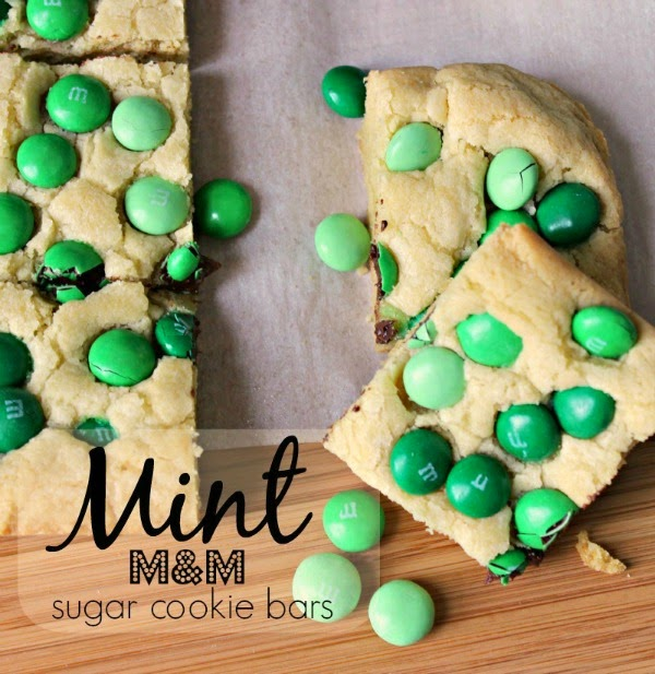 Renee's Kitchen Adventures: Mint M&M Sugar Cookie Bars.  Easy recipe to use your favorite M&M® flavors and colors in!