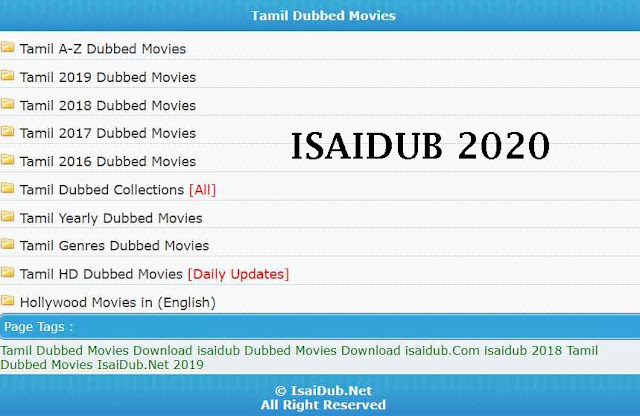 Isaidub 2020 - Tamil Dubbed Movies Download in HD Hindi