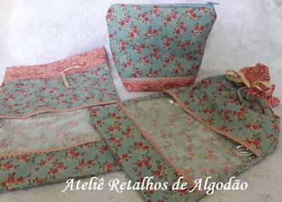 Kit de saquinhos e necessaires organizadores para viagem tecido floral