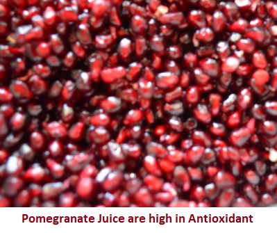 Pomegranate Juice are high in Antioxidants