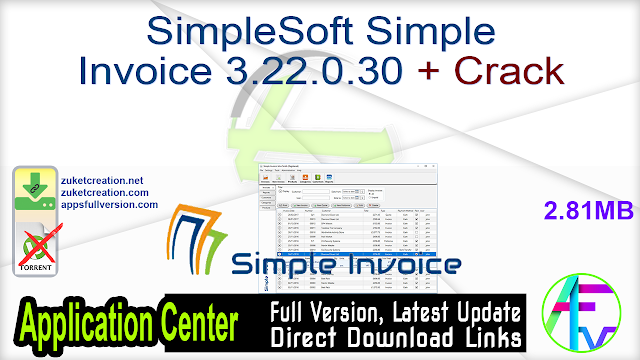SimpleSoft Simple Invoice 3.22.0.30 + Crack