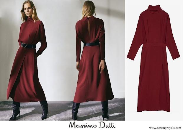 Queen Letizia wore Massimo Dutti Limited Edition open back dress