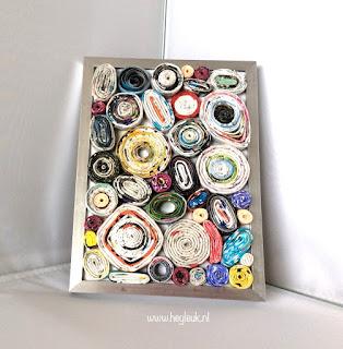 fotolijst met gerolde papierstroken