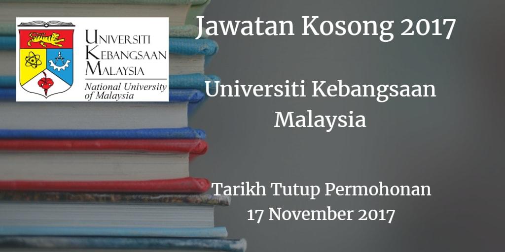 Jawatan Kosong UKM 17 November 2017
