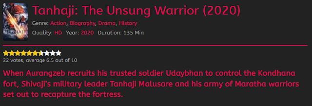 Nonton Film Tanhaji: The Unsung Warrior Sub indo Streaming Movie