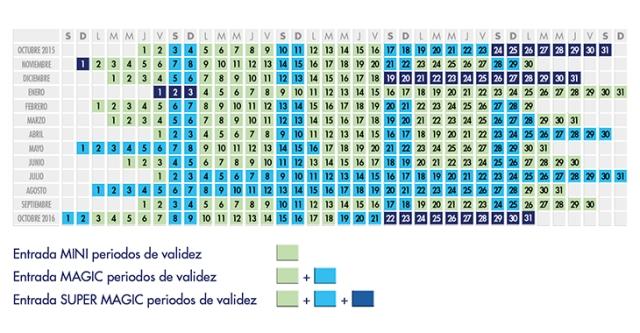 Calendario de entradas de Eurodisney