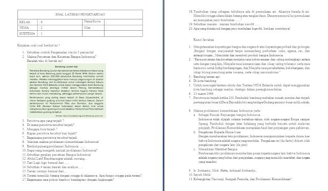 Soal Ulangan Harian Kelas 6 Tema 2