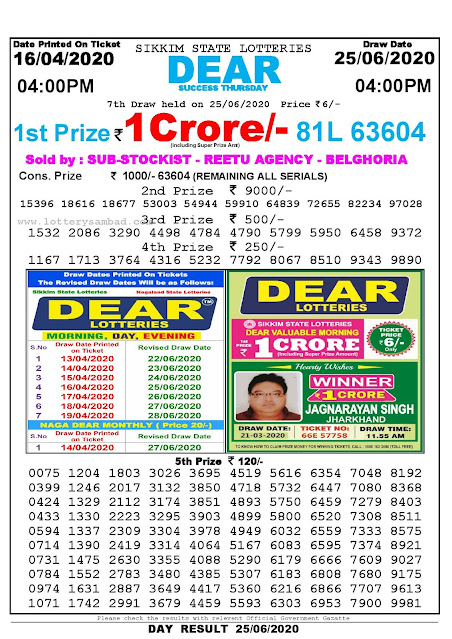 Sikkim State Lottery Sambad 16-04-2020 Today Result 4 PM