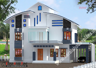 kerala house plan slope roof design