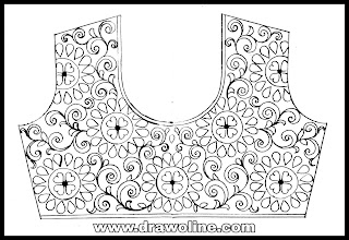blouse embroidery designs drawing/maggam work blouse designs/maggam work designs for bridal/ blouse design drawings