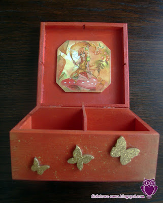 Decoupage fall fairy teabox