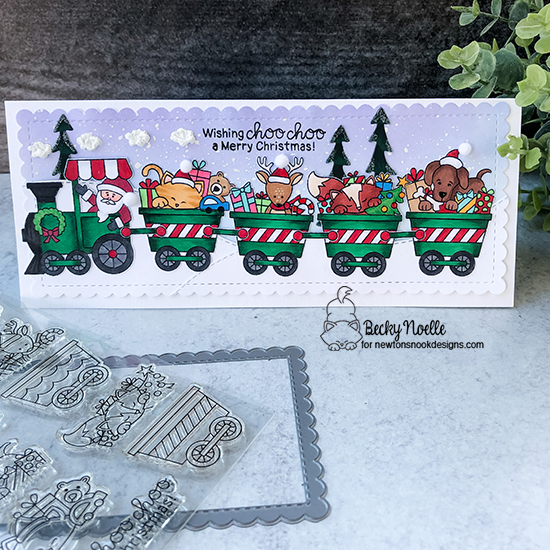 Wishing choo choo a Merry Christmas by Becky features Slimline Frames & Portholes, Land Borders, All Aboard for Christmas, and Forest Scene Builder by Newton's Nook Designs; #newtonsnook, #christmas, #cardmaking