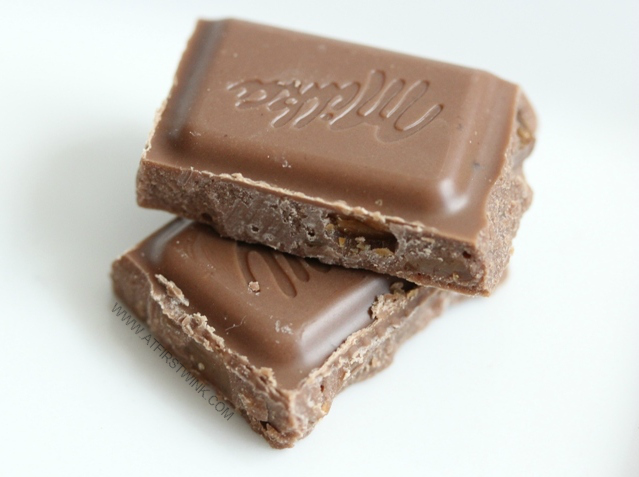 Milka & Daim chocolate bar pieces