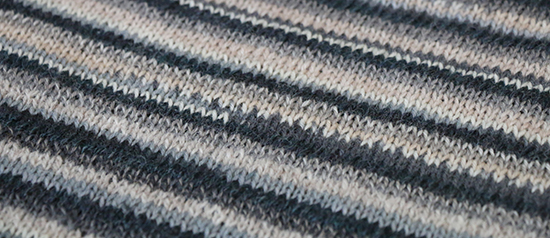Detail of Stripes Knit with Four Colors of Scrap Wool Yarn