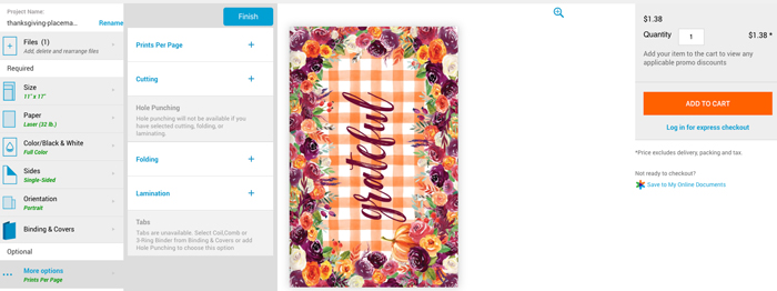 Printing Placemats