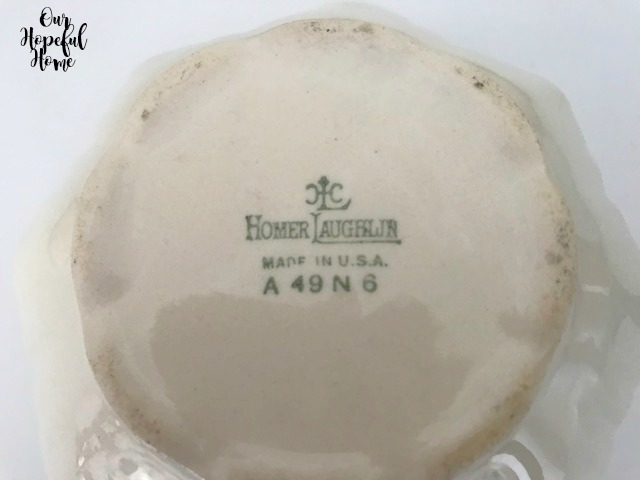 bottom of Homer Laughlin creamer makers mark A 49 N 6