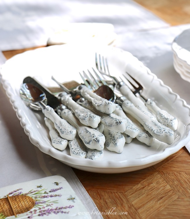 French Country Everyday Table Setting with beautiful white scroll flatware