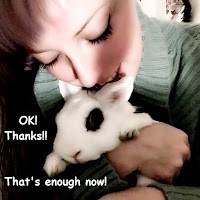 girl hugging white hotot bunny black eyeliner THANKS THAT'S ENOUGH NOW! angry rabbit