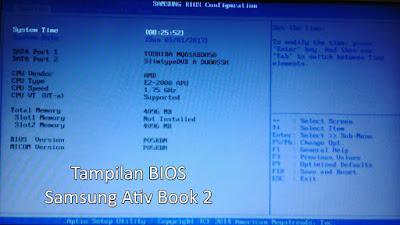 Tampilan BIOS Samsung Ativ Book 2