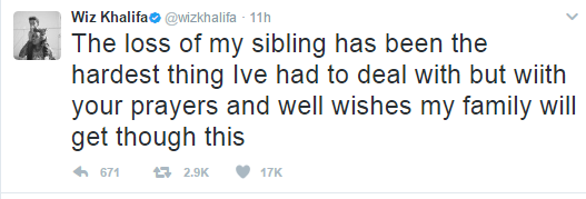 Wiz Khalifa loses sister