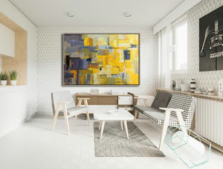 Contemporary Abstract Painting Yellow