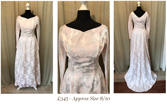1950s blush pink long sleeve wrap rose brocade vintage wedding dress summer boho lace vintage wedding dress available from vintage lane bridal boutique bolton manchester