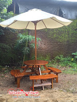 Meja Kursi Round Garden Family With Umbrella - Salsabil Furniture - 085875166325