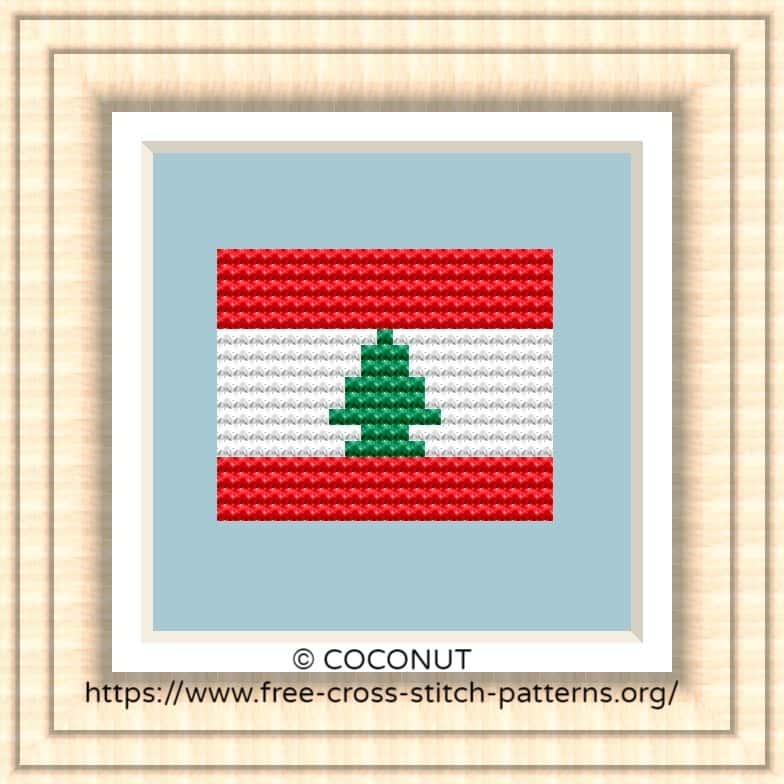 NATIONAL FLAG OF LEBANON CROSS STITCH CHART