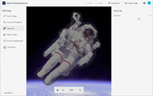 4. Removing the Astronaut from the background - Reload the original image. Select the Touch Up menu item, increase the brush size to about 70 and paint over the Astronaut by clicking and drawing with the mouse. Don't release the mouse button until you've painted over the entire astronaut.