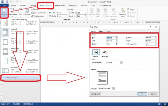 Setting Page Layout Margin, Custom Margin, Setting margin ms word