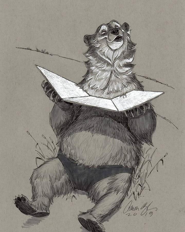 12-Bear-Sunbathing-Aaron-Blaise-www-designstack-co