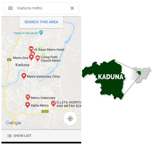 Where to find Kaduna Metropolis (Metro)