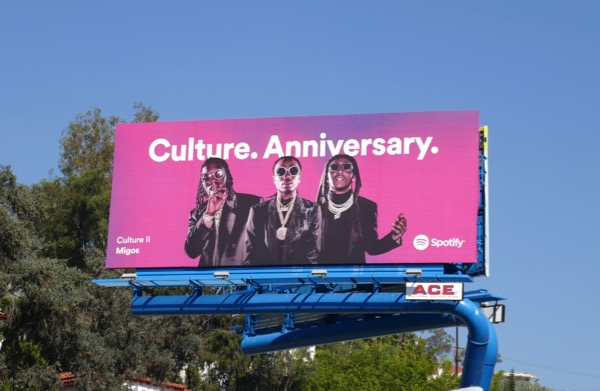 Migos Culture Anniversary Spotify billboard