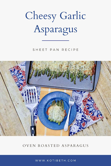 How to cook oven baked garlic Parmesan sheet pan asparagus. This oven roasted cheesy side dish is so simple and delicious. Learn how to make recipes baked oven roasted asparagus and the benefits of asparagus and how to prep it and store it.  Garlic roasted cheesy asparagus in the oven is my favorite way to eat this spring vegetable. #asparagus #cheesy #garlic #parmesan
