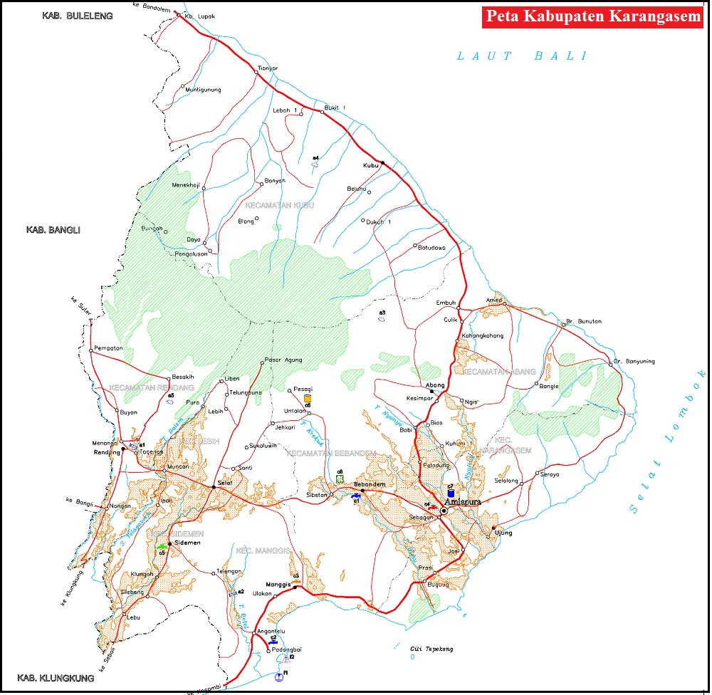 Peta Jalan di Kabupaten Karangasem Provinsi Bali