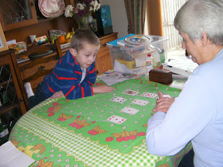 playing card game with grandma