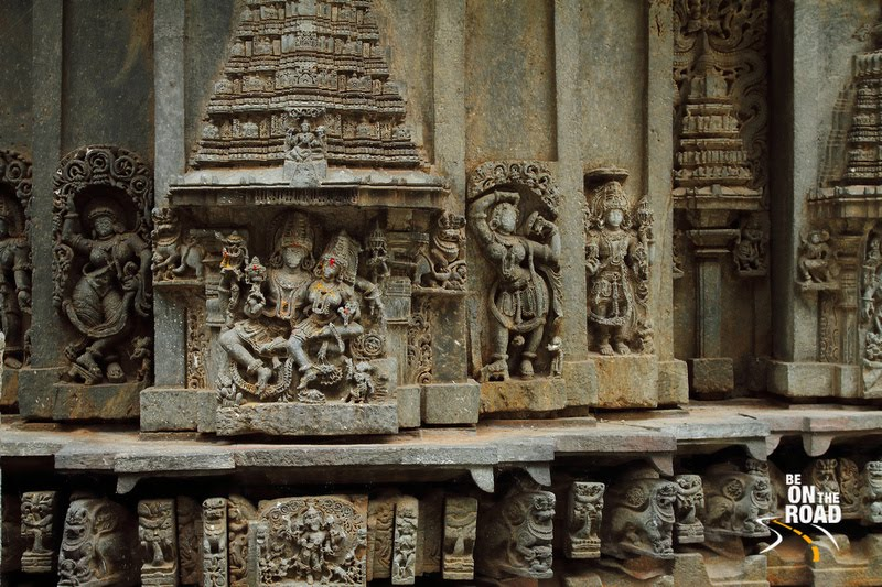 Maha Vishnu, his consort and other sculptures on the walls of Brahmeshvara Temple, Kikkeri