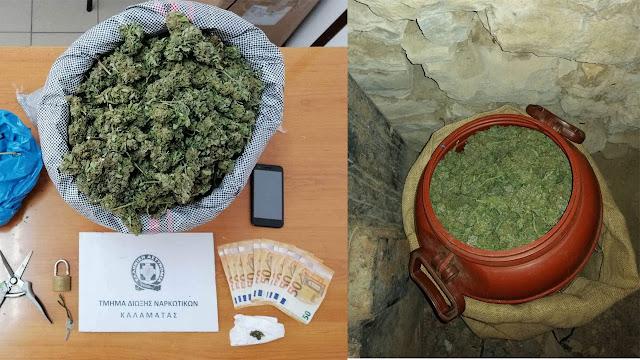 Συνελήφθη 54χρονος με 2,5 κιλά κάνναβη στη Μεσσηνία